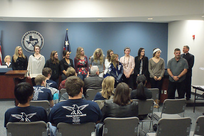 The FHS Volleyball Team and their coach, Jerry Linch, were honored with a Celebration of Excellence Award at the January meeting of the FISD School Board for their outstanding season. The group were District Champions and Regional Finalists. The Coach was named Coach of the Year and selected to coach the All State team in Austin in July. VB member Jasmine Casey was chosen to play on the All State team. The team won numerous awards in District and County.