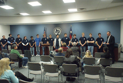 Friendswood High School computer science students collaborated, explored, experimented and engineered a winning computer program which took them to the finals of the 2010 ZERO Robotics competition at MIT mid-December. The students placed fifth in the nation. The group was honored with a Celebration of Excellence Award at the January meeting of the FISD School Board.  The 2010 ZERO Robotics team members include the following members: Dan Rutledge (project leader), Dustin House, Ryan Ham, Garrison Neel, Bobby Brown, Winston Wu, Noah Kessler, Kyle Wiley, Joe Rogers, Quinn Swanson and Joe Le.