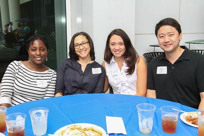 Emory Law Alumni Weekend Barbeque- Oni Holly Brown 99L, Cheryl Turner 94C 99L, Gina Cadogan 99L and Jerry Liu 99L.