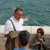 Prof Empereur is a specialist in underwater archeology and the area is where he is pointing in the bay of Alexandria is an important site of his. You can now visit parts of it on scuba diving tours.