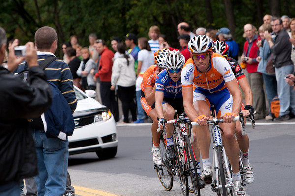 By lap four, the escape of the day has been established; here Tjallingii of Rabobank leads Seeldraeyers, Madrazo, and Izagirre up the climb of Mount Royal.