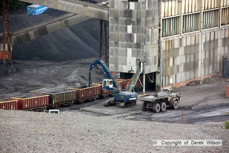 100525-020     Unloading coal from Daw Mill, a nice view looking down from the spoil heaps.