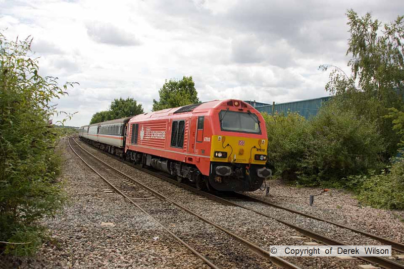 100706-033     DB Schenker class 67 no. 67018 Keith Heller rounds the curve, as it heads into Patchway with 2U14, the 11.02 Taunton - Cardiff. The train was 'top & tailed', with 67029 Royal Diamond.