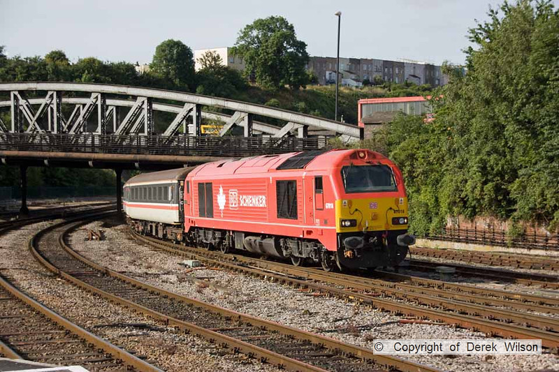 100706-001     DB Schenker class 67 no 67018 Kieth Heller leads train 2D04, the 07.28 Taunton-Bristol Parkway. Classmate, silver liveried 67029 Royal Diamond was at the rear & the ensemble is seen arriving at Bristol Temple Meads. This was the first week of this service being operated by class 67's, replacing class 57/3's..