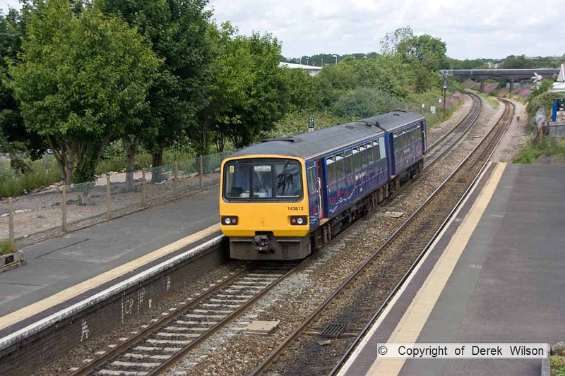 100706-025     First Great Western class 143, pacer unit no. 143612 is seen departing Patchway with the 09.33 Exeter St Davids - Cardiff Central.