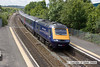 100706-023     A First Great Western HST, powered by 43165 (front) & 43015 (rear) is seen from the footbridge at Patchway, with the 09.45 London Paddington - Swansea.
