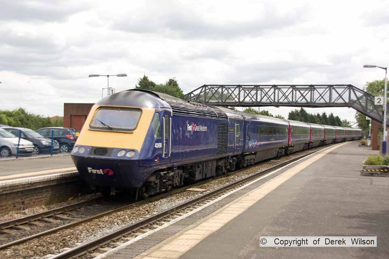 100706-047     A First Great Western  HST is seen heading away from the camera, as it passes through Patchway, with the 12.55 Cardiff Central - London Paddington. It was led by 43193, whilst 43198 is nearest, at the rear.