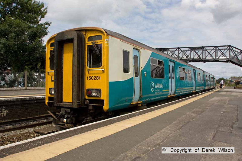 100706-039     Arriva Trains Wales class 150 unit no. 150281, on hire to First Great Western, calls at Patchway with the 12.00 Cardiff Central - Taunton.