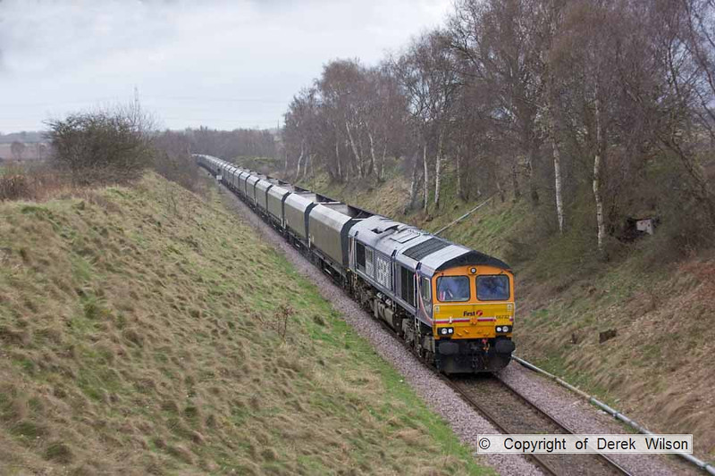 100402-022     GBRf class 66 no 66732 is seen heading along the branch to Thoresby colliery, powering train 4K55 West Burton power station-Thoresby colliery, empty coal hoppers.