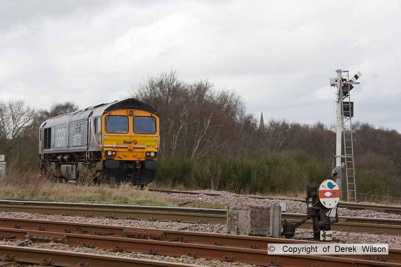 100402-008     GBRf class 66 no 66732, seen on the end of the Thoresby branch, about to re-join the stock.
