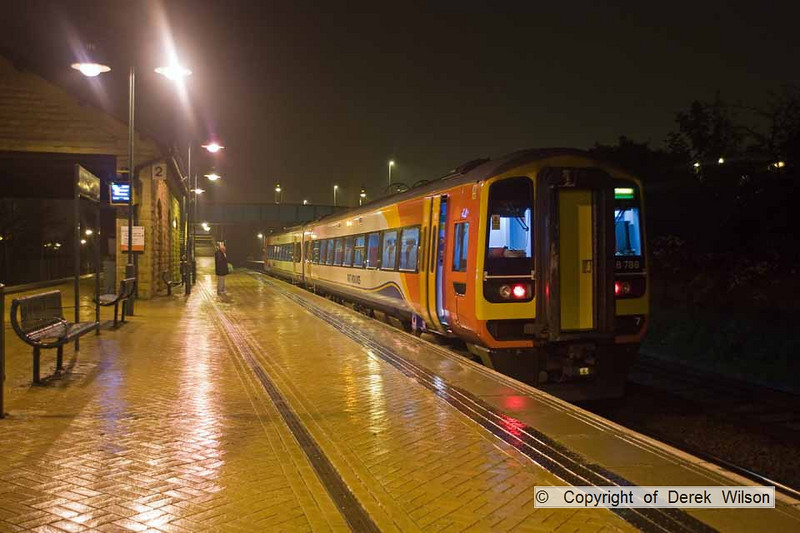 101103-001     East Midlands Trains class 158 no. 158788 is seen at a wet Mansfield Woodhouse with the 20.15 Worksop-Nottingham.