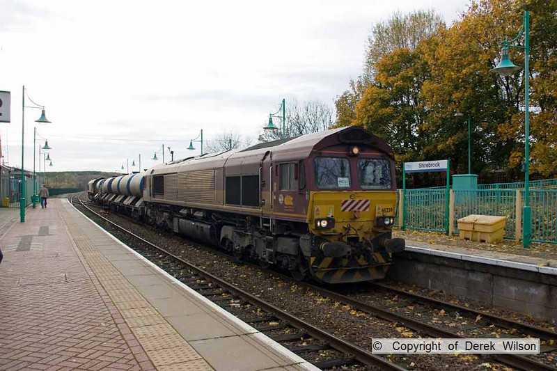 101105-002     DB Schenker class 66/0 no. 66239 is seen at Shirebrook with railhead treatment train, (RHTT) 3J88 Derby-Derby circular. Classmate 66249 is at the rear, both loco's have recently returned from working in France.