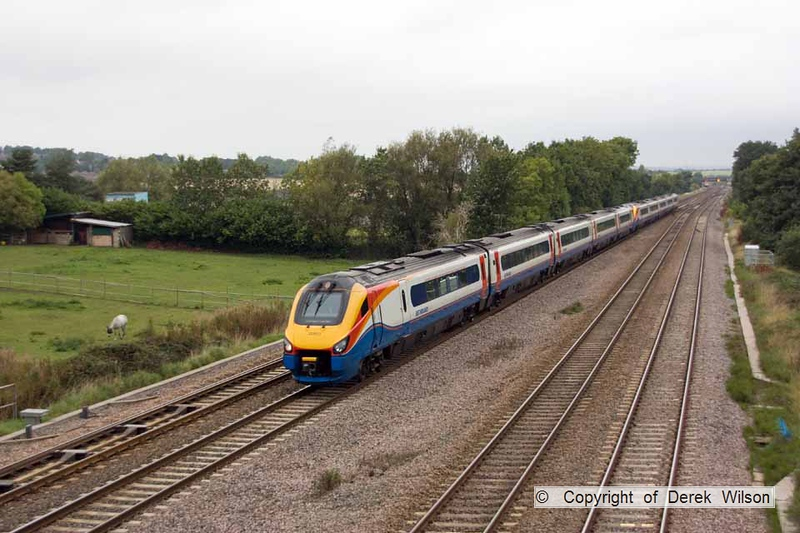 100910-001     East Midlands Trains class 222, meridian units no's 222013 & 222023 speed through Tupton with the 12.27 Sheffield - London St Pancras.