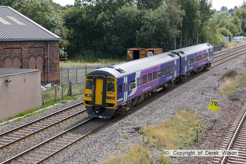 100603-009     Northern Rail class 158 unit no. 158851 is seen passing through Clay Cross with the 13.09 Nottingham - Leeds.