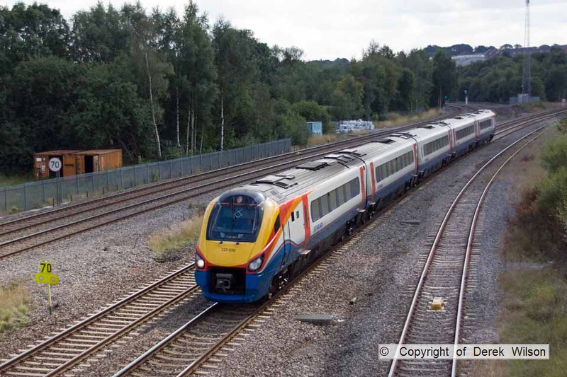 100903-022     East Midlands Trains meridian unit, class 222 no. 222020, seen passing Clay Cross with the 12.25 London St Pancras - Sheffield.