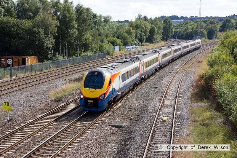 100903-025     East Midlands Trains meridian unit, class 222 no. 222004, seen passing Clay Cross with the 12.55 London St Pancras - Sheffield.