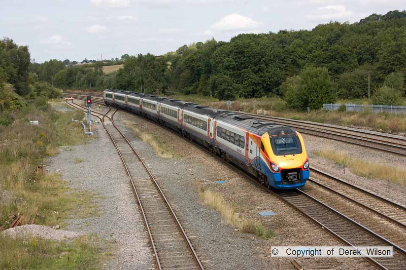 100903-007     East Midlands Trains class 222, meridian unit no. 222003, seen passing Tupton with the 11.55 London St Pancras - Sheffield.
