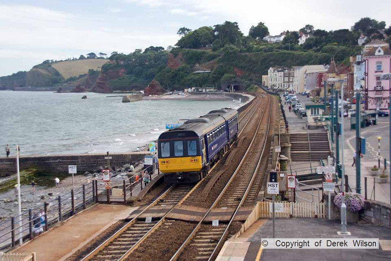 100708-020     FGW pacer unit, class 142 no 142063 is seen leaving Dawlish with the 16.55 Exmouth-Paignton.