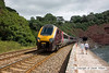 100704-005     Cross Country 'super voyager' class 221 no 221130 speeds past a sunny Teignmouth with the 09.48 Bristol Temple Meads-Penzance.