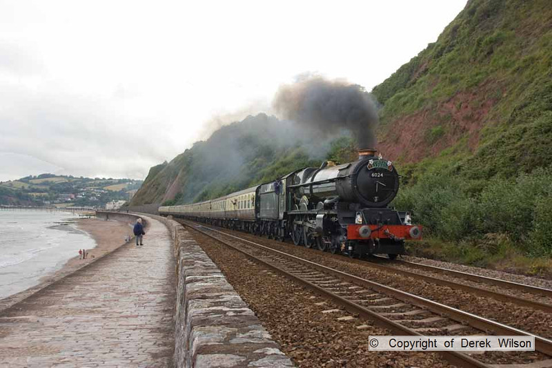100704-019     The return leg of the Torbay Express, train 1Z28 Paignton-Bristol Temple Meads passes the scenic coastline atTeignmouth, powered by Great Western 'King' 4-6-0 no 6024 King Edward 1.