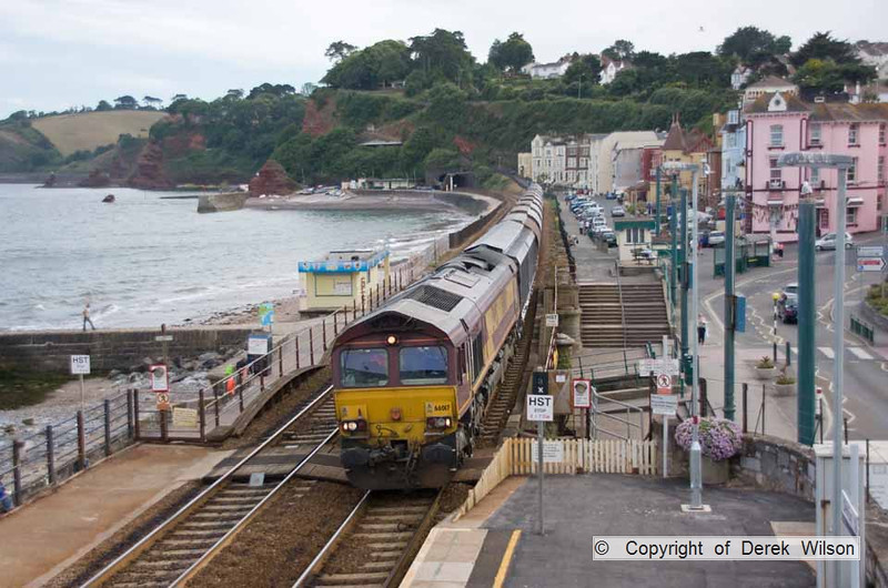 100708-026     DB Schenker class 66/0 no 66017 is seen from the station footbridge at Dawlish, powering train 6C39 St Blazey - Exeter Riverside..
