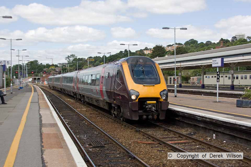 100705-008     Cross Country Trains class 220, 'voyager' unit no 220033 is seen arriving at Exeter St Davids with the 06.01 Glasgow-Plymouth.