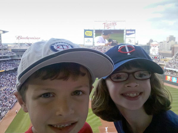 The kids at the Twins game