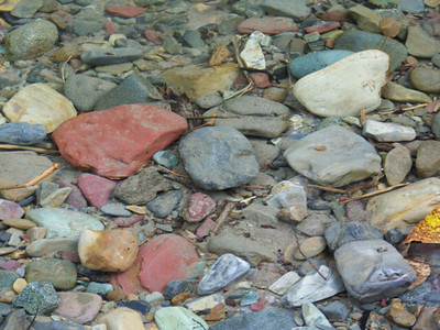 colorful pebbles, McDonald Creek, Glacier National Park, Montana