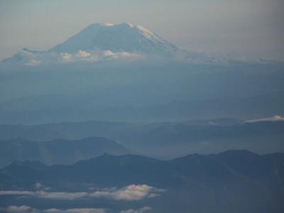 aerial view of Mt Rainier, Washington