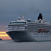 The Cruise Ship Crystal Symphony arriving in Boston Harbor at sunrise.