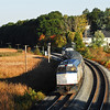 Fall Downeaster crosses Whittenmore Pond in Woburn, ten miles north of Boston