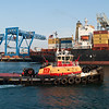 The tug Freedom at Conley Terminal in South Boston with the Container Ship MCS Ingrid.