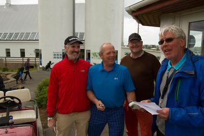 Þessir menn léku í 3. flokki og áttu teig klukkan 12:40. Kristinn Frímann Guðjónsson, Jón Hilmar Hilmarsson og Björn Axelsson.