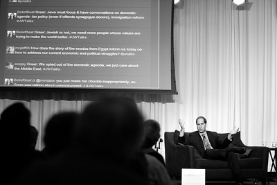 """Simon Greer, President and CEO of The Nathan Cummings Foundation speaks with Professor David Domke of the University of Washington at 415 Westlake as part of the UW Stroum Jewish Studies Lecture Series on January 24, 2012. The topic- How Can America Move Toward A """"Just"""" Domestic Agenda? Simon Greer is also the former CEO, Jewish Funds for Justice. Photography by Meryl Schenker Photography"""