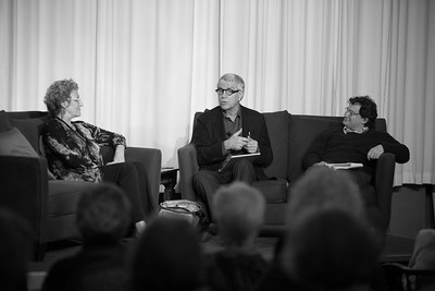UW Professor Marcia Meyers and CEO Ken Weinberg of Jewish Family Service, outlined the tensions between theories of fixing poverty and the way that social services address the most critical needs on the ground. Photography by Meryl Schenker