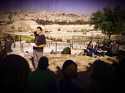 Mt of Olives: overlooking the temple mt. Brad is teaching about the second coming of Christ.
