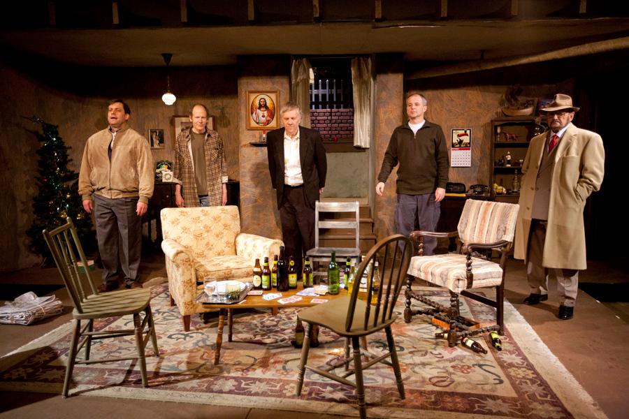 "The cast of ""The Seafarer"" (L to R):  John Reidy (Nicky); Charlie Heuvelman (Ivan); Jaysus (Himself); Robert Ashton (Richard); Matt Hanify (Sharky); Barry Hyatt (Mr. Lockhart)."