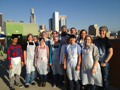 On the roof of the Union Rescue Mission- a little break from serving breakfast