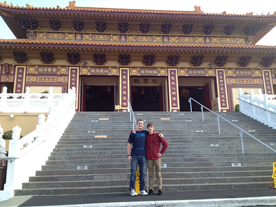 Two happy campers at the Buddhist temple. Waiting for our tour to start.