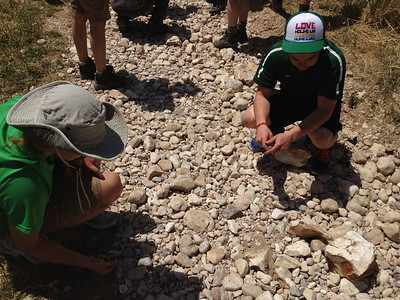 Gathering stones from where David fought Goliath.