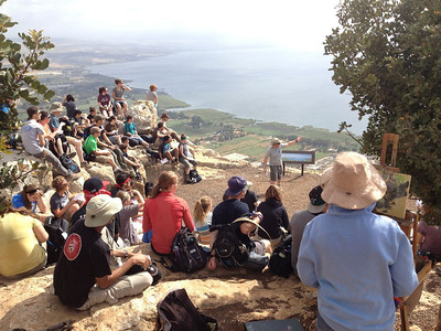 Mt Arbel: the mt where Jesus likely withdrew to pray. We are learning the geography.