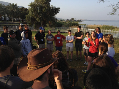 Morning Devo at the sea of Galilee!