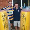 Club Sponsor, Steve Field, presents new tackle bags to Club Captain, Sam Watkins.