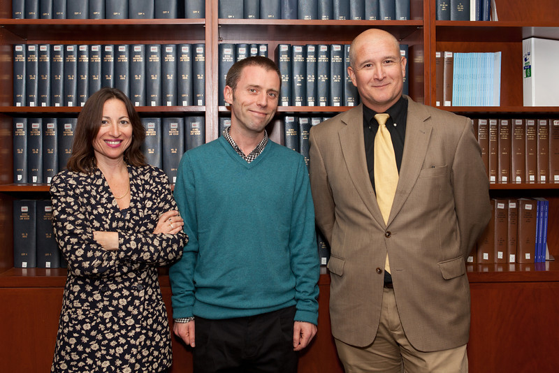 Dr. Ian Brown (center) with series organizers Professors Dawn Nunziato and Arturo Carrillo.