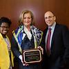 Tasha Williams, President of the Law Association for Women at GW Law, Corinne Ball, J.D. '78 and Dean Paul Schiff Berman