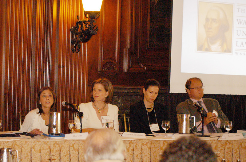 "The first panel, ""Regulatory Challenges,"" featured Ellen Cohn, Kalorama Partners; Elizabeth M. Schubert (JD '99), partner, Sidley Austin; Tonya Grindon (J.D. '97), shareholder, Baker Donelson; and Thomas A. Dubbs, senior partner, Labaton Sucharow.  The panel was moderated by Professor Theresa Gabaldon."