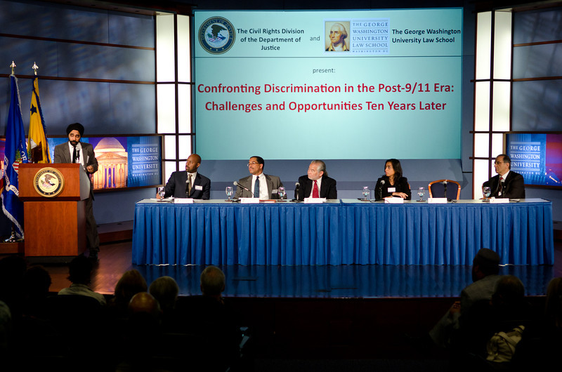 Panel discussion with Ralph Boyd (Former Assistant Attorney General, Civil Rights Division, U.S. Department of Justice), Stuart Ishimaru (Commissioner, EEOC), Farhana Khera (Executive Director, Muslim Advocates), Amardeep Singh (Director of Programs, Sikh Coalition), Dr. James Zogby (Founder and President, Arab American Institute), and moderator Roy L. Austin (Deputy Assistant Attorney General, Civil Rights Division, U.S. Department of Justice).