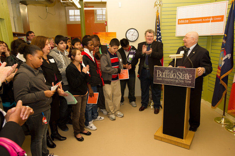 President Aaron Podolefsky speaking at the opening of the Buffalo State College Community Academic Center.