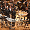 Percussion ensemble performing with Buffalo State College Wind Ensemble at Kleinhan's Music Hall.