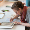 Students working with professor Judith Walsh in Art Conservation paper lab.